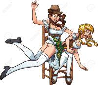 Deux femmes en tenue bavaroise se mettent une fessée